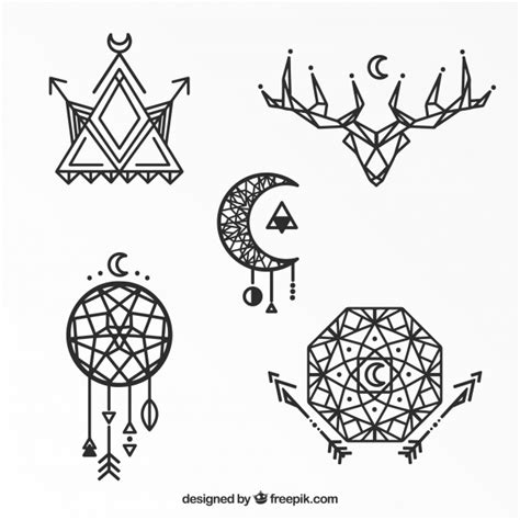 Geometric Ethnic Tattoo Collection Vector  Free Download
