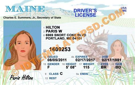 maine usa state drivers license psd photoshop