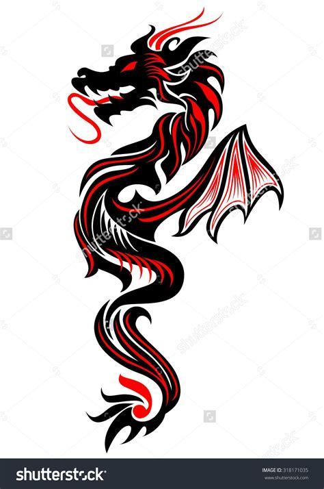 black  red tribal dragon tattoo vector illustration