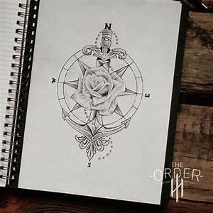 Rose Compass Anchor Sword Sketch The Order Custom Tattoos