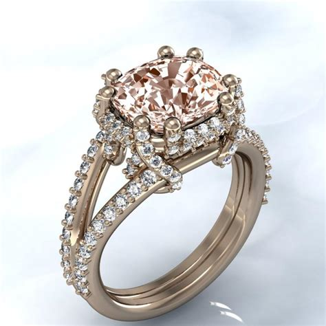 unique rose gold cushion morganite and diamond halo engagement ring available in white gold