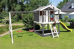 Spielhaus Garten Mit Rutsche : stelzenhaus tobi in grau mit rutsche schaukel und ~ Watch28wear.com Haus und Dekorationen