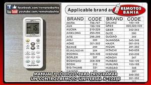 Manual Y Lista De C U00d3digos Para Programar Control Remoto