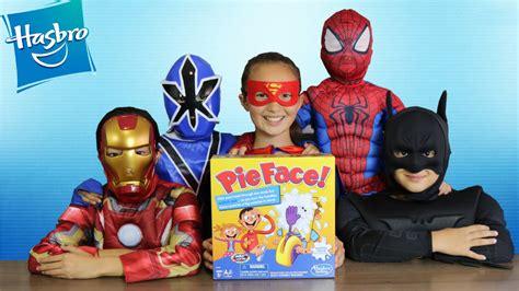 superhero pie face challenge whip cream   face game