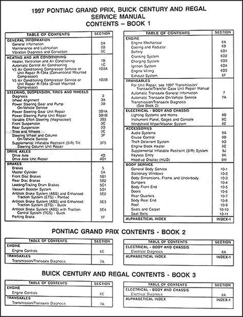 service manuals schematics 1997 buick century security system 1997 buick century regal repair shop manual original 2 volume set