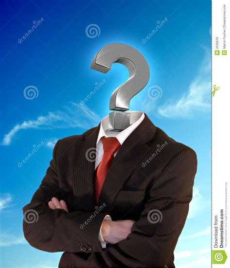 question mark business suit arms questioning folded background sky head royalty preview