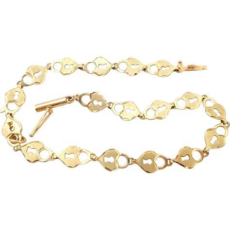 gold bracelet 14k 14k italy gold padlocks key charm bracelet from