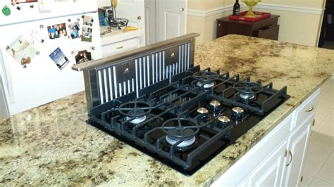 granite kitchen island countertop  gas glass cooktop
