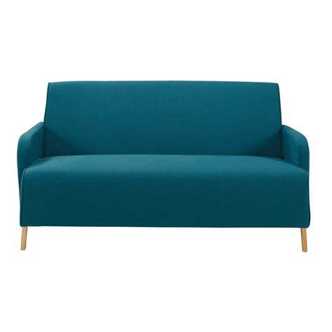 canapé 2 places en tissu canapé 2 places en tissu bleu pétrole adam maisons du monde