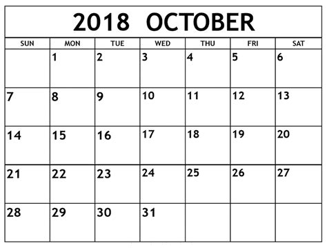 2015 Calendar Template With Holidays Printable Calendar 2018 October 2018 Calendar Template Printable