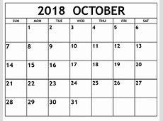Free October 2018 Printable Calendar Template Public