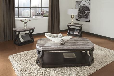 white marble living room table ashley t568 13 radylin faux marble top three piece coffee