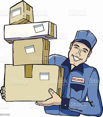 Packages Mailman Delivery Cartoon Delivering Person Embarquees