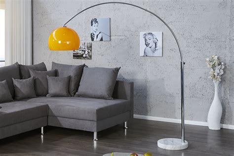 design bogenlampe lounge deal orange marmorfuss  cm ausziehbar bogenleuchte riess