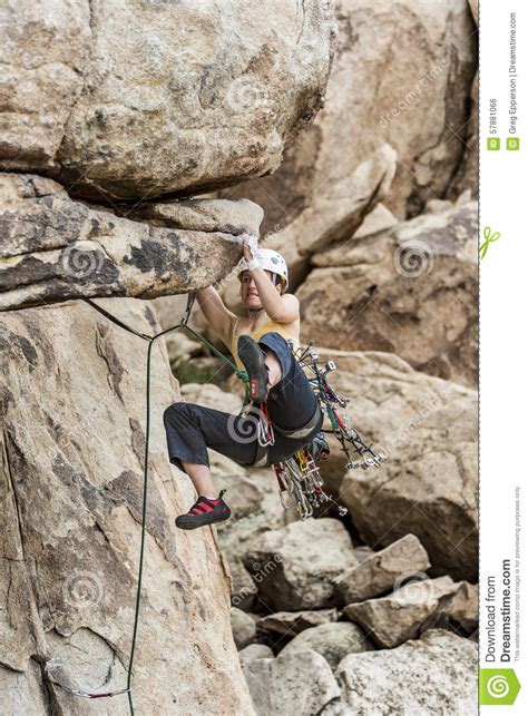 Female Climber Going For The Summit Stock Photo Image