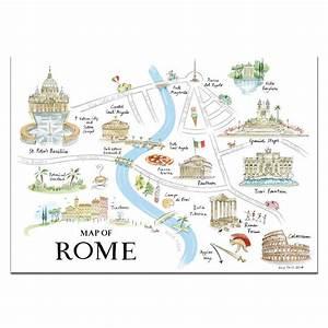 Alice Tait  U0026 39 Map Of Rome U0026 39  Print By The Alice Tait Shop