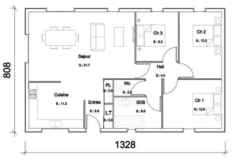 maison 3 chambres plain pied modele maison manuella becokit maisons ossature bois