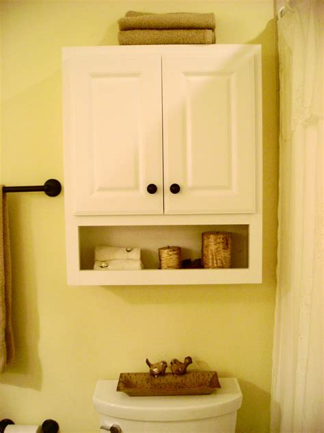 White Wooden Floating Bathroom Cabinet With Double Doors