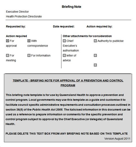 briefing note templates    premium