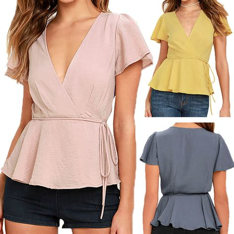 v neck low cut shirts sleeve chic blouse tie waist european style