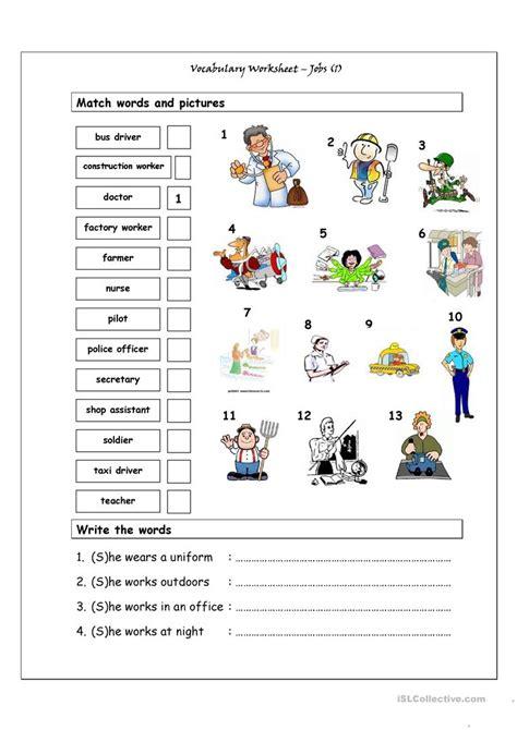 vocabulary matching worksheet jobs 1 worksheet free esl printable worksheets made by teachers