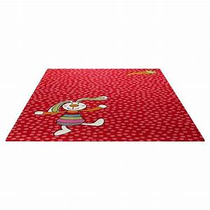 Tapis enfant rainbow rabbit rouge sigikid 80x150 for Tapis enfant rouge