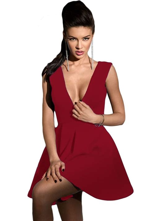 Women Burgundy Sleeveless Deep V Neck Skater Dress