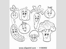 Cartoon of a Group of Happy Veggies Royalty Free Vector