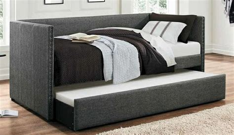 grey nailhead twin size daybed  trundle