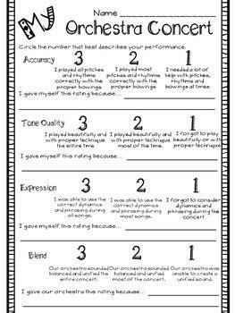 performance self evaluation worksheets band