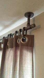Galvanized Plumbing Curtain Rod Hung From Ceiling To Make