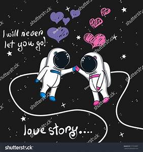 Love Story Boy Girl Astronauts Spacecartoon Stock Vector ...