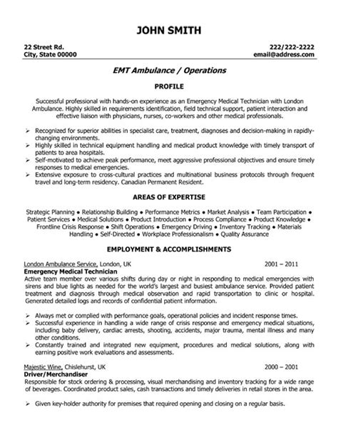 Emt Basic Resume by Emergency Technician Resume Template Premium Resume Sles Exle