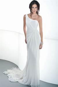 Turmec one shoulder wedding dress chiffon wedding dress for One shoulder wedding dress
