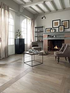 salon avec cheminee et parquet en chene vieilli pose quoten With salon avec parquet