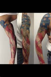 American Flag Arm Sleeve Tattoo
