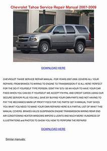 Chevrolet Tahoe Service Repair Manual 2007 20 By Lavonda