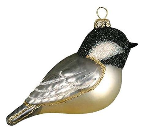 cobane studios chickadee blown glass bird ornament
