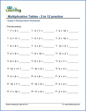 grade 4 math worksheets multiplication tables of 2 to 12