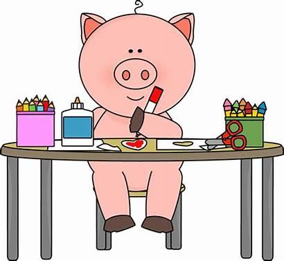 Pig Coloring Class Clip Table Piggy Graphics