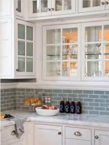 Kitchen Subway Tile Backsplashes White Cabinets With Frosted Glass Blue Subway Tile Backsplash From Houzz House