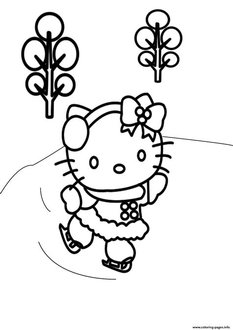 Free Winter S Hello Kitty Skatingb521 Coloring Pages Printable