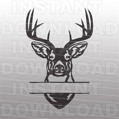 buck head deer hunting monogram split svg file cutting