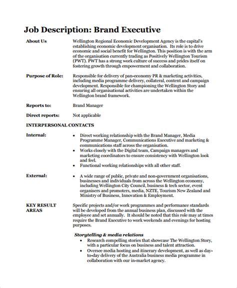Executive Description Duties by Sle Brand Manager Description 9 Exles In Pdf