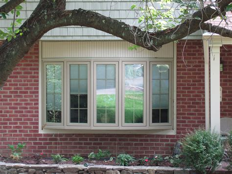 Bay Window Decorations With Calm Brown 5 Windows Bay Style