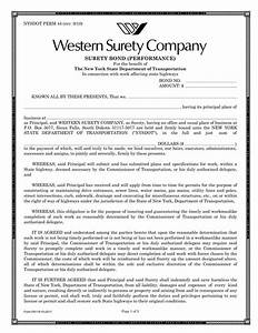 new york performance surety bond With performance bond template