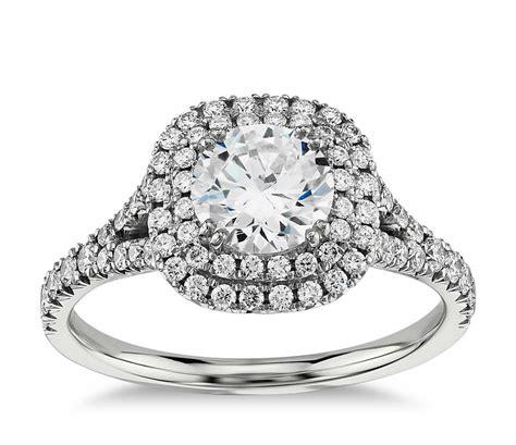 Duet Halo Diamond Engagement Ring In 18k White Gold (12