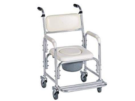 aluminum shower chair bedside commode w casters and padded seat commode pail and
