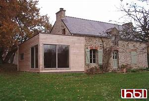 extension ossature bois hblb morbihan bretagne bardage With delightful maison bois toit plat 16 extension de maison en bois