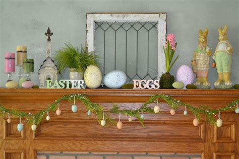 easter mantel corner of plaid and paisley easter mantel
